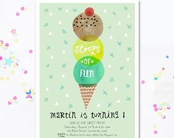 Party Invite IceCream, Ice Cream party Invitation, Icecream invitation, Summer Birthday, Printable Invitation, Ice Cream theme, Motif Visual