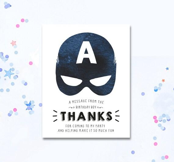 Captain America Thank You Card Superhero Thank You Etsy