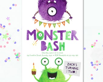 Monster Party, Monster Birthday Invite, Monster invitation, Monster invite, kids party invite, Monster Birthday, 2nd Birthday, 3rd Birthday