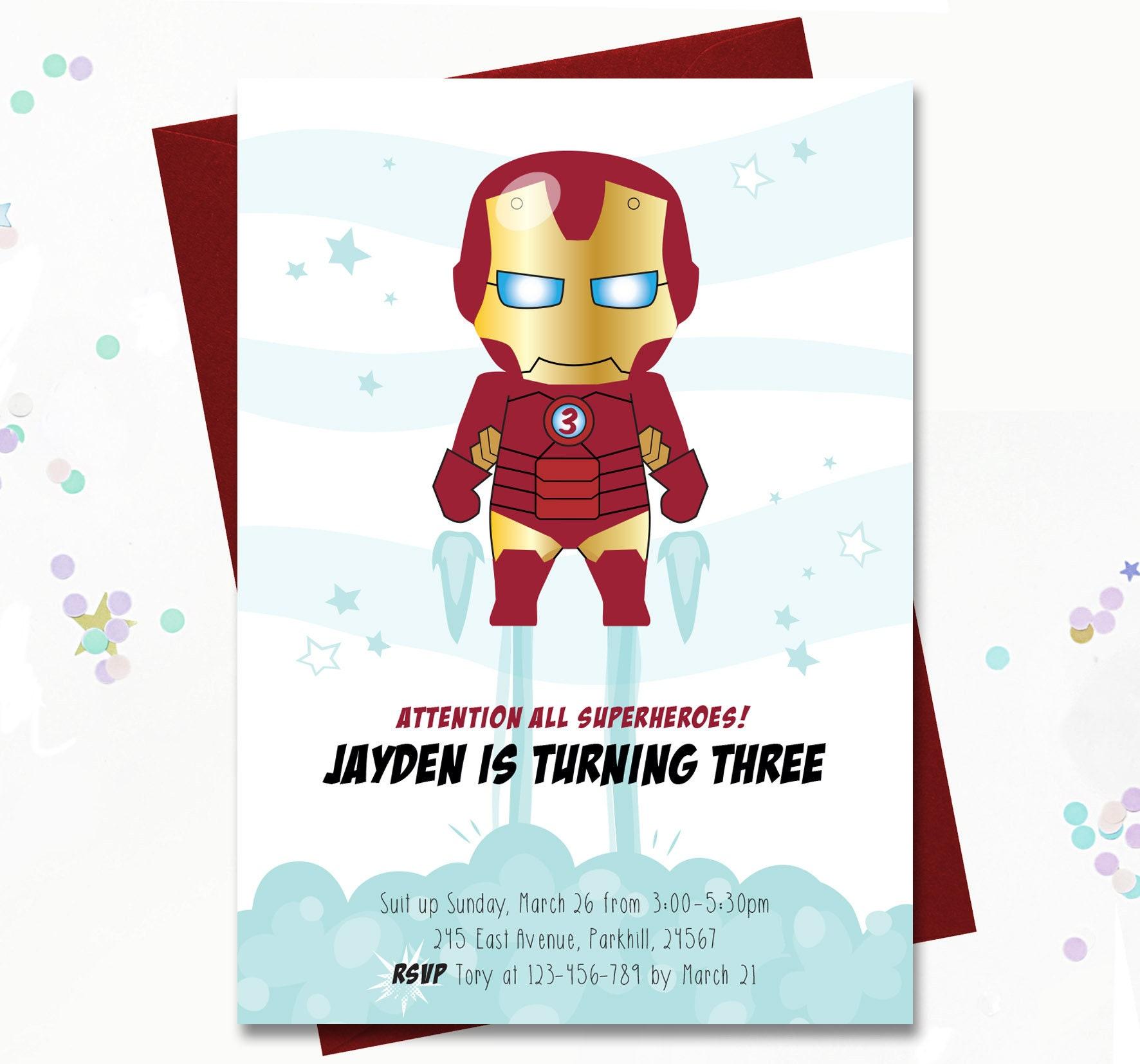 IronMan Party Invite Boys Birthday Invitation Superhero   Etsy