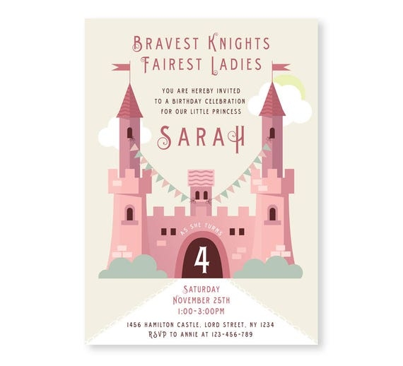 Princess Castle Invite Girls Birthday