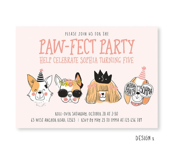 Dog Invite Puppy Invitation Party Animal Girls Paw Fect Dogs