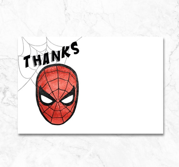 Spiderman Thank You Card Spiderman Birthday Party Instant Etsy