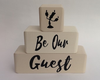 Be Our Guest Beauty and the Beast wooden blocks