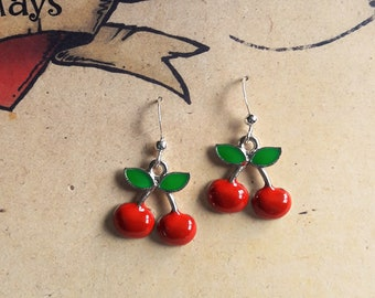 Cherry Earrings, 1950s Inspired, Rockabilly, Pin Up, Mid Century Style Novelty Earrings.
