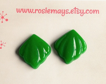 Green Art Deco Style Earrings, 1940s Bakelite Inspired, Classic Carved 40s Inspired Studs, Rockabilly, Pin Up.