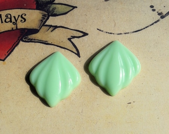 Mint Art Deco Style Earrings, 1940s Bakelite Inspired, Classic Carved 40s Inspired Studs, Rockabilly, Pin Up.