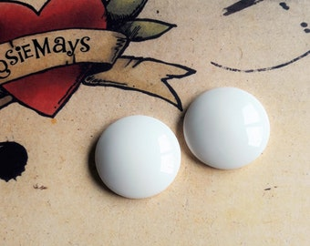 White Stud Earrings, Large 50s 60s Inspired Studs, Rockabilly, Pin Up, Vintage Style Button Earrings By RosieMays