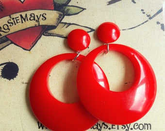 Red Hoop Earrings, 40s 50s Style, Rockabilly, Pin Up, Bakelite Inspired Hoops By RosieMays