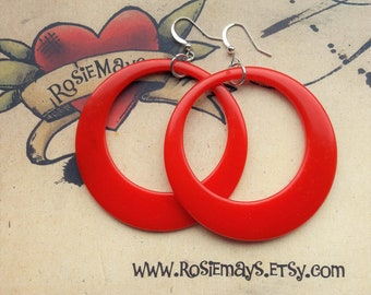 Red Hoop Earrings,  50s Style, Rockabilly, Pin Up, Large Bakelite Inspired Hoops By RosieMays