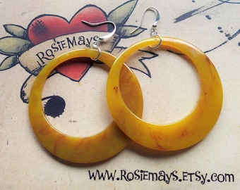 Marbled Butterscotch Hoop Earrings,  Bakelite Inspired, Rockabilly, Pin Up, Large 50s Style Hoops By RosieMays