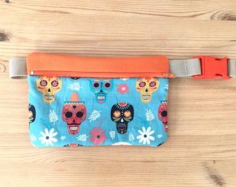 Kidneys CHILDREN, GIRLS, CALAVERAS, orange, crossbody bag, cloth bag, bag, skull fabric, travel, Mexican skulls, Mexico