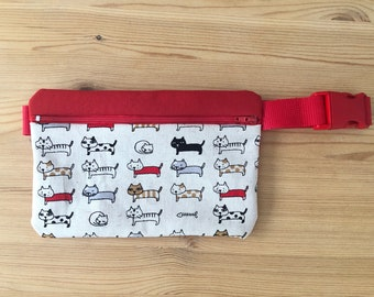 Kidney BOYS, GIRLS, CATS, red, beige, crossbody bag, cloth bag, bag, cat fabric, travel, red cloth, red closure, red strap