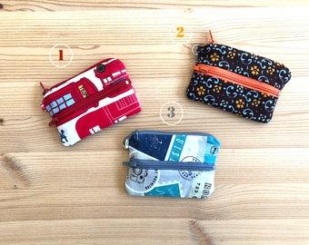 Monederos DOBLES. Elegir modelo. monedero mini, monedero pequeño, tela londres, tela viajar, tela flores, monedero con bolsillo, billetera