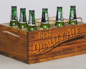 Personalised Beer crate, gift for him, wood beer carrier, gift for beer lovers, custom beer box, wooden beer holder, best man gift, man cave