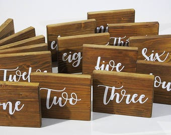 Rustic Wedding Table Numbers Free Standing Table Names For Weddings Custom  Made Wooden Signs Barn Wedding Table Names Rustic Wood Sign Gift