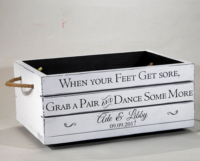 0839f2ebfc35d5 Flip flop cratedancing shoes box vintage wedding crate