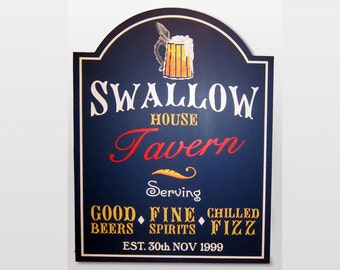 Pub sign painted Personalised home Bar sign wooden birthday gift for men tavern custom made English Pub plaque beer lover housewarming gift
