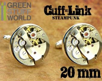 Movements ROUND 20mm CUFFLINKS - vintage Steampunk watch movements design