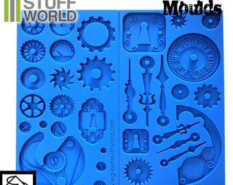 PACK x2 Steampunk Gear Texture SILICONE MOLDS Matt for food and resins - Impression Stamp, Clock