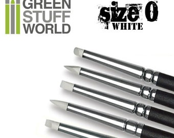 Colour Shaper - Size #0 - WHITE SOFT - Clay shapers Set - Silicon Brushes - Green Stuff Tool