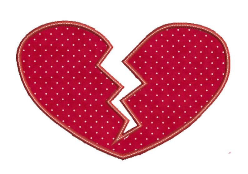 Broken heart applique design in hoop size instant etsy