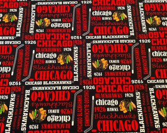 100% Cotton Fabric NHL Chicago Blackhawks Writing Hockey Logo sold by the 1/2 yard Black Red Yellow Indian 18x42