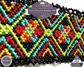 Netting pattern, Boho huichol bracelet pattern