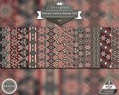 peyote bracelet pattern, peyote pattern, peyote stitch, Miyuki Delica pattern, pdf pattern - Patriotic Vintage Stars Set of 13 patterns