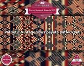 peyote bracelet pattern, odd peyote, peyote stitch, Toho Round pattern, pdf pattern, beading bracelet tutorial - Patriotic Vintage Stars Set