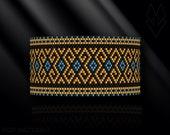 peyote bracelet pattern, peyote pattern, peyote stitch, Miyuki Delica pattern, pdf pattern, beading bracelet tutorial - 18k Gold