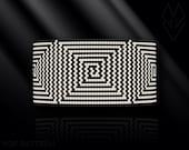 peyote bracelet pattern, odd count peyote, peyote stitch, Toho Round pattern, pdf pattern, beading bracelet tutorial - Optical illusion