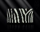 peyote bracelet pattern, odd count peyote pattern, peyote stitch, Toho Round pattern, pdf pattern, beading bracelet tutorial - Zebra
