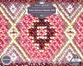 Netting pattern, Pink fantasy - huichol bracelet pattern
