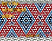 Netting pattern, Red 'n' Blue huichol bracelet pattern
