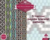 peyote bracelet pattern, odd count peyote pattern, peyote stitch, Toho Round pattern, pdf pattern, beading bracelet tutorial - 5! Narrow