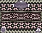 Netting pattern, Peach Coral - netting pattern, huichol patern