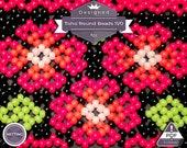 Netting pattern, Flowers huichol bracelet pattern