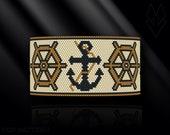 peyote bracelet pattern, peyote pattern, peyote stitch, Miyuki Delica pattern, pdf pattern, beading bracelet tutorial - Ahoy Sailor!