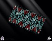 Netting pattern, Ethnic huichol bracelet pattern