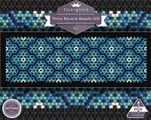 Netting pattern, Forget-me-not  - huichol bracelet pattern