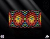 Netting pattern, Summer Flowers huichol bracelet pattern