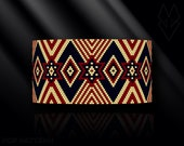 peyote bracelet pattern, odd count, peyote stitch, Toho Round pattern, pdf pattern, beading bracelet tutorial - Patriotic Vintage Stars