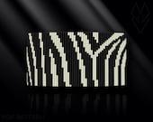 loom bracelet pattern, loom bracelet, loom stitch, Toho Round pattern, pdf pattern, beading bracelet, beading tutorial - Zebra