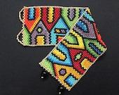 peyote bracelet pattern, even count peyote pattern, peyote stitch, Toho Round pattern, pdf pattern, beading - Houses