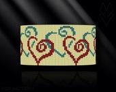 loom bracelet pattern, loom bracelet, loom stitch, Toho Round pattern, pdf pattern, beading bracelet, beading tutorial - Hearts