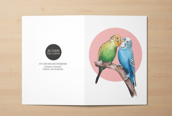 Budgerigar Blank Greeting Card and Envelope by Alljoy Design