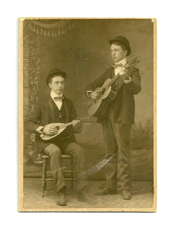 Antique Early 1900s Guitar Players Photograph Home Decor Photography Collectable