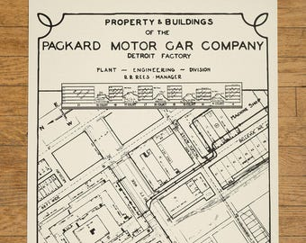 "Packard Plant Engineering Blueprint Screen Printed Poster.  19"" x 25"""