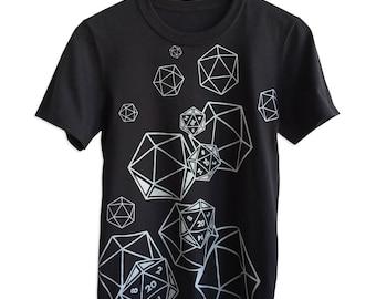 Dungeons and Dragons T-Shirt. D20 Dice Shirt, Black. Geeky Graphic T-shirt. D20 Polyhedral Dice Print Shirt, DnD Shirt, Dungeon Master Gift.